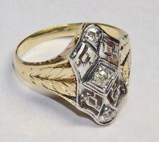 Antique 14K White & Yellow Gold ART DECO Three Stone Diamond Filigree Ring Euro