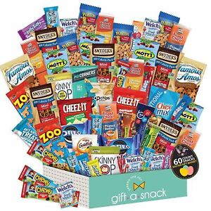 Easter Candy Gift Baskets for Kids & Adults, Snack Box Variety Pack (60 Count) -