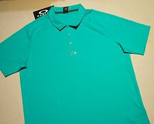 OAKLEY POLO GOLF SHIRT LAKE BLUE TEAL MENS XL REG FIT 433536 SMOOTH POLYESTER