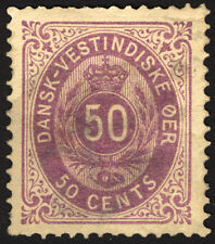 Classic Rare Stamp Danish West Indies #13 Violet 50c 1874-79  Rare Used CV $300+
