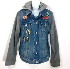 Torrid Women's Jean Jacket Plus Size 1 14/16 Blue Gray Denim Hoodie Patches NWT