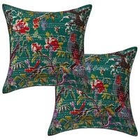 Indian Kantha Cushion Cover Home Decor Cotton Pillow Case Throw Set OF 2pcs