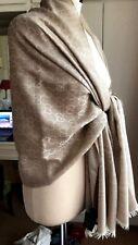 GUCCI Lana Wool/Silk GG Beige Shawl/Scarf 70cm x 200cm
