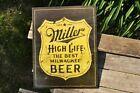 Miller High Life Beer Tin Metal Sign - Milwaukee - Vintage Shield - Retro