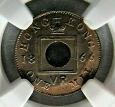 Hong Kong 1 Mil 1866 NGC MS 65 BN.  Superb flawless Gem !