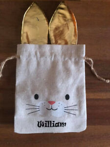 Easter Egg Bags Personalized,Hessian, Easter Bunny, Draw string bag, Gift,