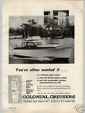 1955 PAPER AD Colonial Cruisers Boat Co 36' Sports Cruiser Millville NJ