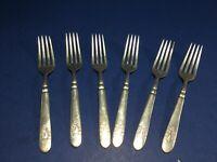 "Vintage, 6-Piece 7.25"" Fork Set, Silver Plate Silverware Flatware, F. S. P. Co."