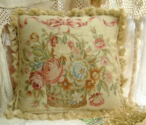 "16"" Elegant Roses Basket Vintage Country Beautiful Needlepoint Pillow Cushion"