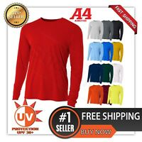 A4 Men's Moisture Wicking Textured Tech Long Sleeve Resistant T-Shirt. N3165