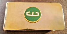 1950's FORD EDSEL BIG E GREEN GOLD ENAMEL LOGO Stainless Steel Money Clip 2 x 1