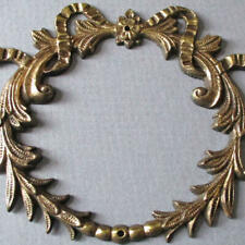 "Antique Small 4"" Cast BRONZE Mount Ornament Applique * WREATH w BOW ~ Marked"