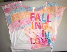 Hang Ten Ladies Juniors Cap Sleeve T-Shirt Multicolor Pattern, Side Tie, Size L