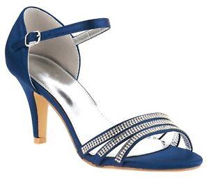 NEW LADIES NAVY BLUE MID HEEL ANKLE STRAP DIAMANTE SATIN EVENING SANDALS 3-8