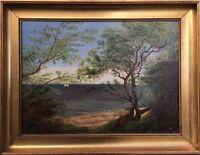 Impressionist Bäume am Strand Natur mit Segelboot um 1880 Anonym 51 x 66 cm
