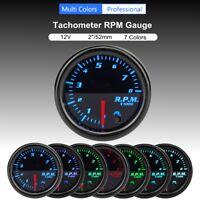 Universel 2'' 52mm 12V 7 Couleur LED RPM Tachymètre Jauge Compte-Tours Tach Auto
