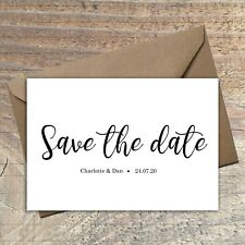 Personalised Simple Save the Date Cards WHITE/CALLIGRAPHY packs of 10