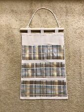Beige Striped Fabric 7 Compartment Wall Hanging Organizer Storage