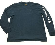 Carhartt Shirt Size Large L Original Fit Blue Long Sleeve Tee Sleeve Spell Out