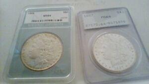 2 1884 & 1887    ICG & NTC LABEL GRADED  MORGAN SILVER DOLLARS