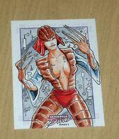 2014 Marvel Dangerous Divas series 2 color sketch card 1/1 artist unknown