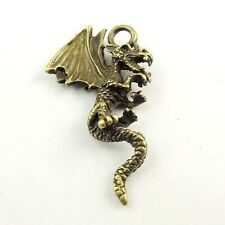 31094 Antiqued Bronze Vintage Alloy Western Flying Dragon Charms Pendant 28 PCS