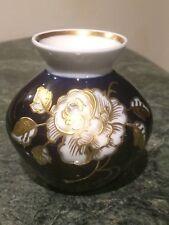 A rare small Porcelain Echt Cobalt Wallendorf W 1764 gold relieved rose Vase