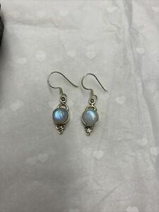 Sterling Silver And Opal Drop Earrings