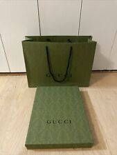 Authentic GUCCI Empty Green Box Green Gift 16 X 12 X 2 w/ Paper Shopping Bag