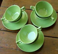 Branchell Color-Flyte Tea Cup Saucer set of 6 Spray Lime Melmac 1950s Mod