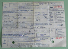 1990 Indiana Non Resident Deer Hunting Permit License w/ Tags...Free Ship!