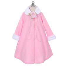 PINK Jacket Coat Fleece Style Fur Trim Winter Fall A-Line Flower Girl Dresses