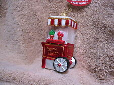 Snow Cone Cart Glass Ornament - Frosty Flavored Ice Treat Machine Made in Poland