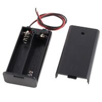 1X(2 x AA 3V Battery Holder Case Box Slot Wired ON/OFF Switch w Cover U9X7)