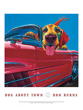 DOG ART PRINT POSTER - Dog About Town by Ron Burns 24x18 Driving Car