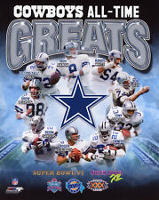 DALLAS COWBOYS All-Time Greats Glossy 8x10 Photo Smith Aikman Staubach Poster