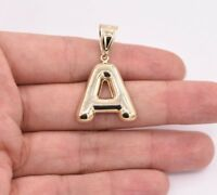 Initial Letter A Plain Shiny Pendant Charm Real 10K Yellow Gold