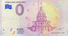 BILLET 0  EURO DOME DES INVALIDES   PARIS FRANCE 2018 NUMERO DIVERS