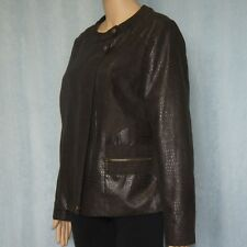 SUZANNE GRAE Ladies Bomber Style Brown Jacket Women's Size S, Leather Look 10-12