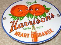 """VINTAGE DRINK HARRISON'S HEART ORANGE 4"""" PORCELAIN METAL SODA POP GAS OIL SIGN!"""