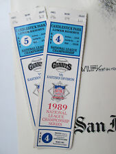 Two 1989 NLCS SF Giants vs Eastern Division Cubs National League Ticket Stubs