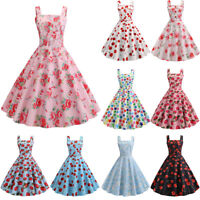Women Vintage 50s Rockabilly Sleeveless Swing Dress Summer Evening Party Prom