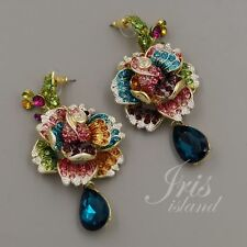 Gold Plated GP Multi-Color Crystal Rose Chandelier Drop Dangle Earrings 5657 New