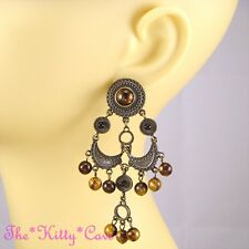 Vintage Gypsy Ethnic Bronze Tone Chandelier Earrings w/ Tiger Eye Effect Beads