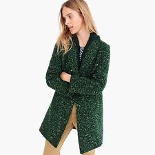 NWT J CREW DAPHNE COAT in Italian Tweed SIZE 00 Peacock Green