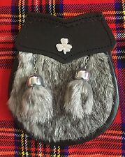 CC Child's Kilt Sporran Grey Rabbit Fur Irish Shamrock/Kids Sporrans/Boy Sporran