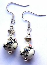 WHITE & BLACK CHINESE PORCELAIN & SILVER EARRINGS - WITH ORGANZA GIFT BAG