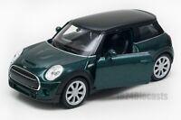 New Mini Hatch Dark Green, Welly scale 1:34-39, model toy car gift