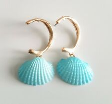 Mini Blue Clam Shell Gold Plated Hoop Earrings Other Bloggers Stories Mango