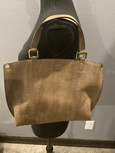 Free People Bohemian Faux Suede Handbag with Pouch - Medium Brown ~ NWOT